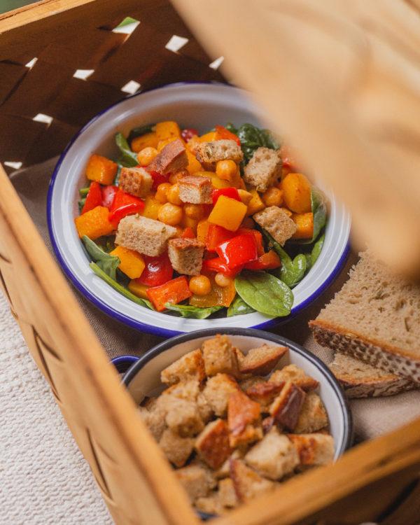Brotrezept: Brotsalat mit Kürbis und Kichererbsen